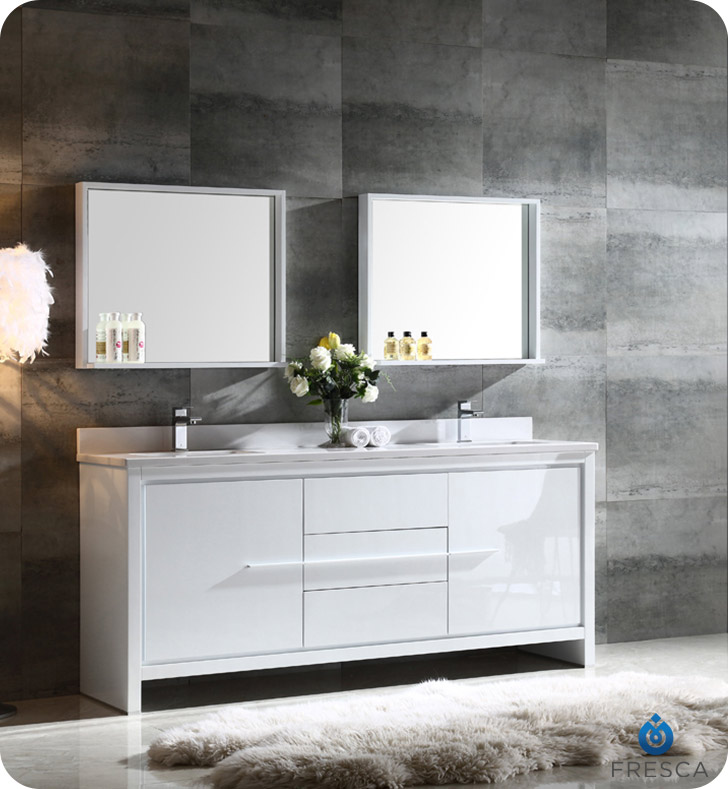Allier 72 Modern Double Sink Bathroom Vanity Glossy White Finish