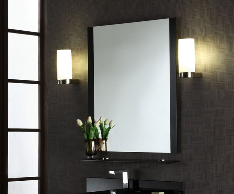 ... Amazing Xylem Wall Mounted Black Glass Bathroom Mirror ...