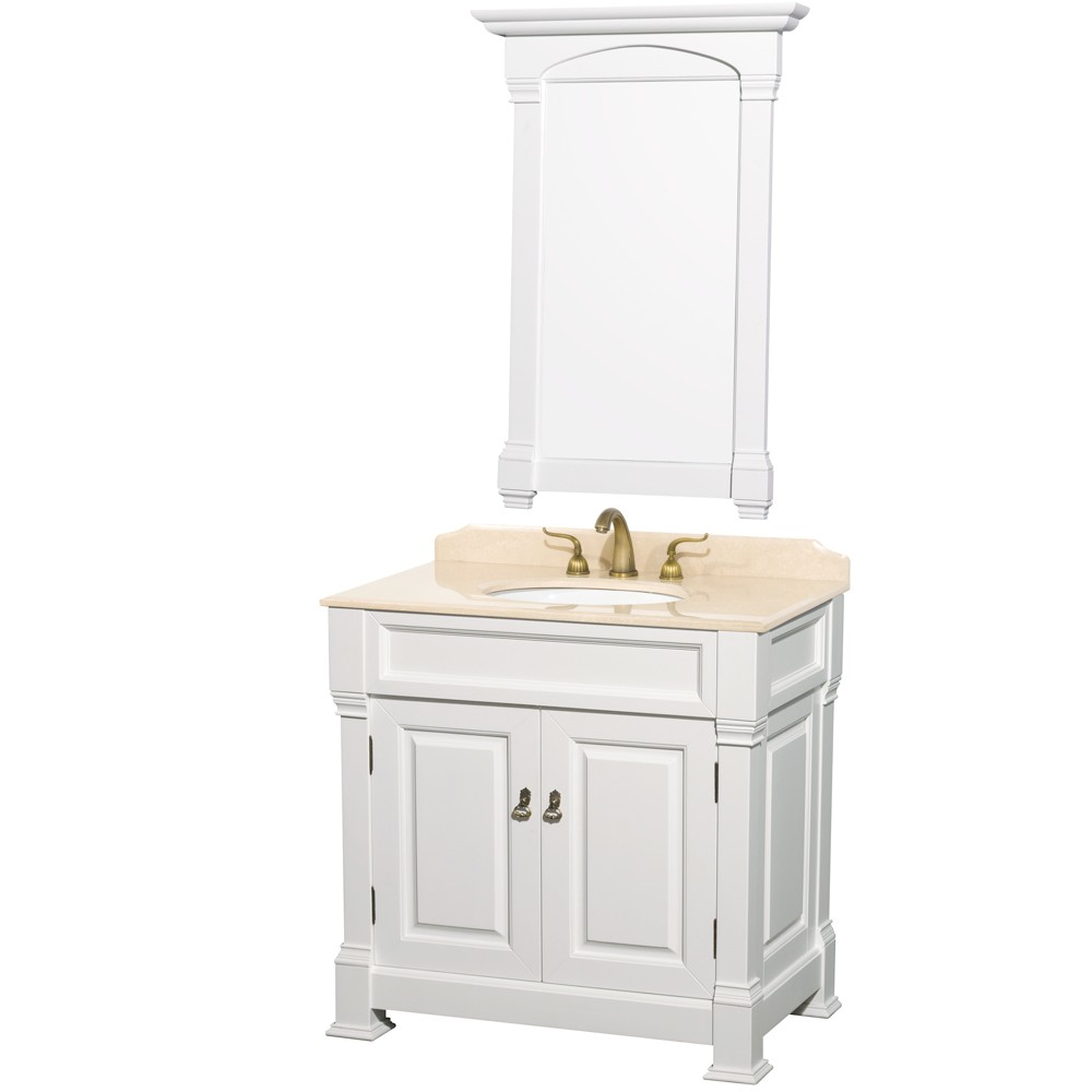 andover 36 inch traditional bathroom vanity set white finish