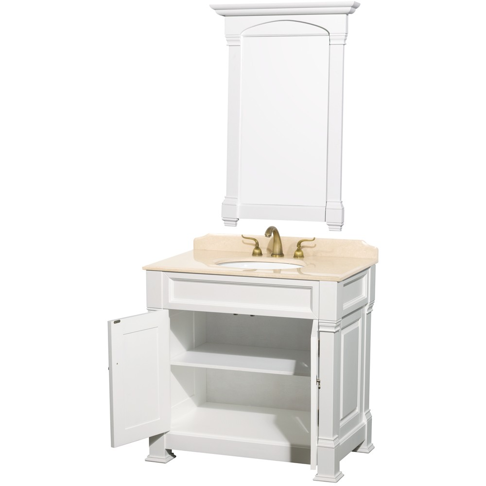 Traditional Bathroom Sinks Andover 36 Inch Traditional Bathroom Vanity Set White Finish
