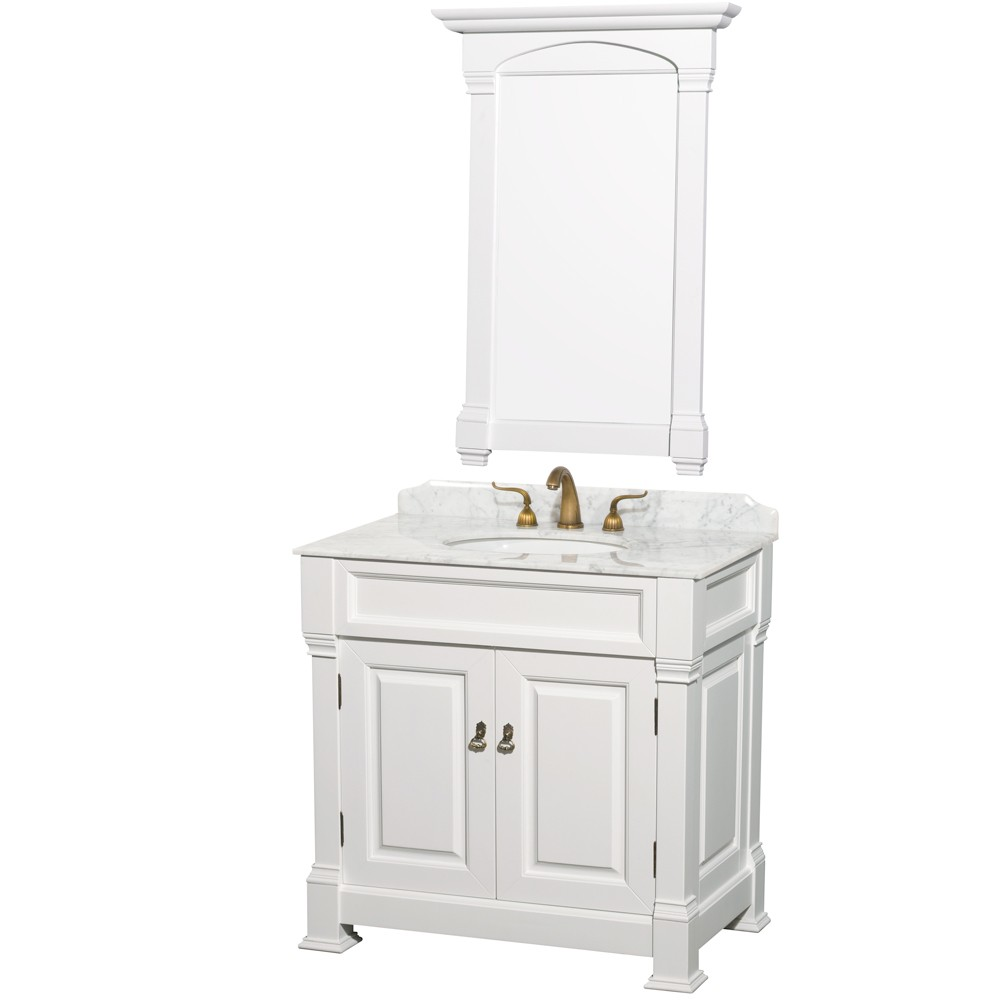 andover 36 inch traditional bathroom vanity set, white finish 32 Inch Bathroom Vanity