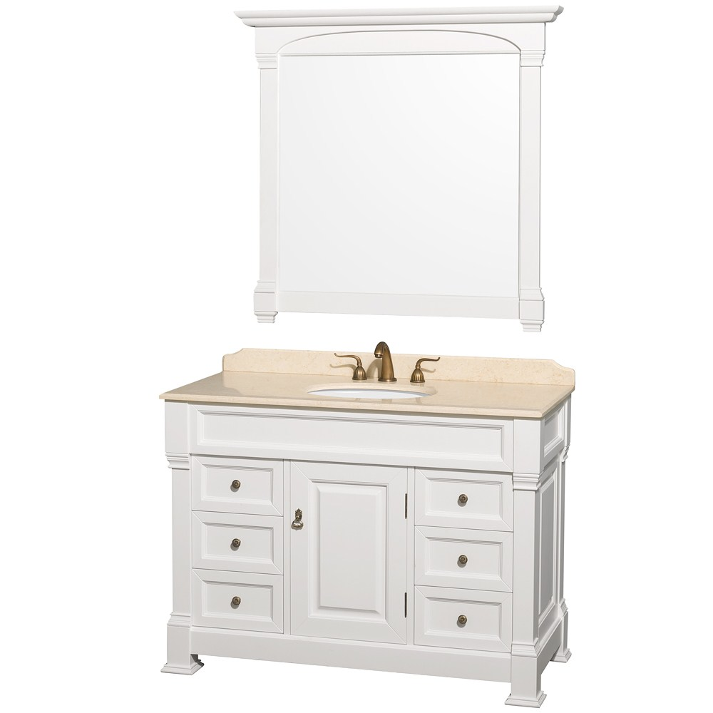 Andover 48 white traditional bathroom vanity set for Restroom vanity