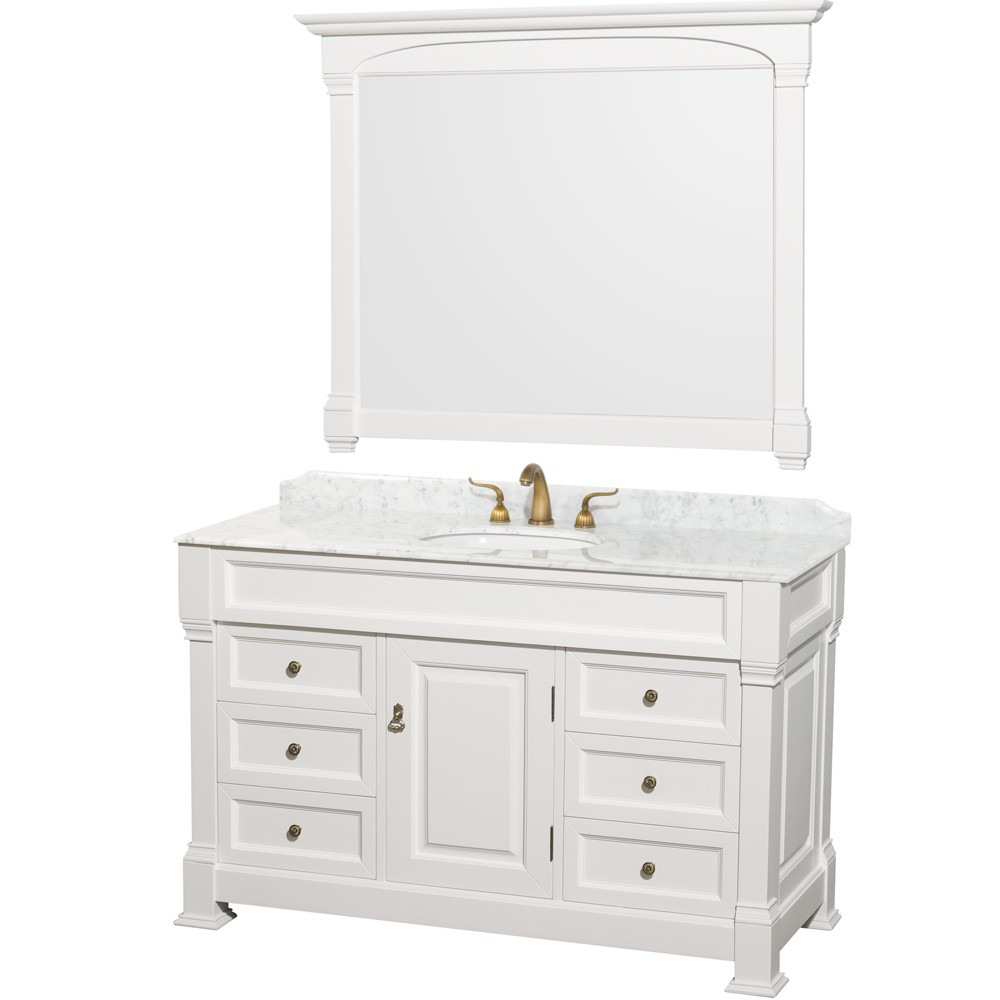 Andover 55 inch antique bathroom vanity set white finish ivory marble or white carrera marble top Marble top bathroom vanities
