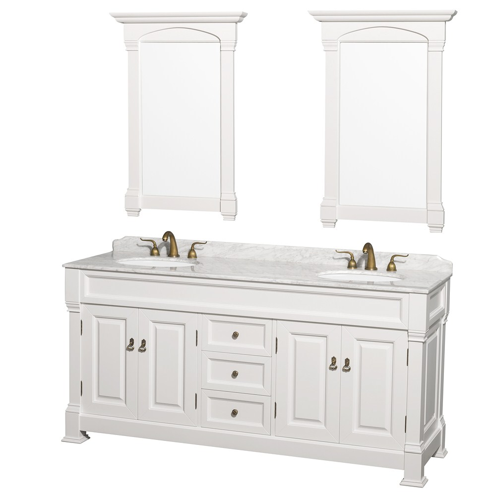 72 inch white finish double bathroom vanity marble top set Marble top bathroom vanities