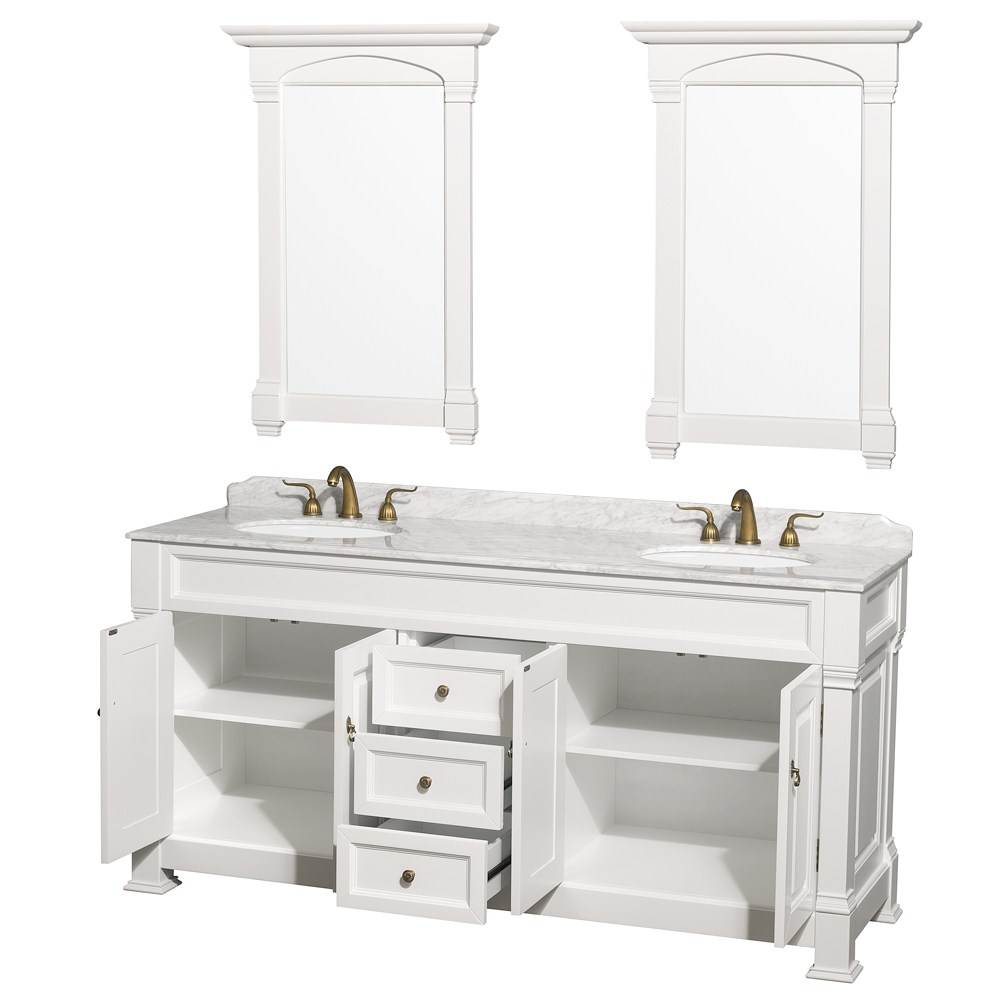72 inch white finish double bathroom vanity marble top set