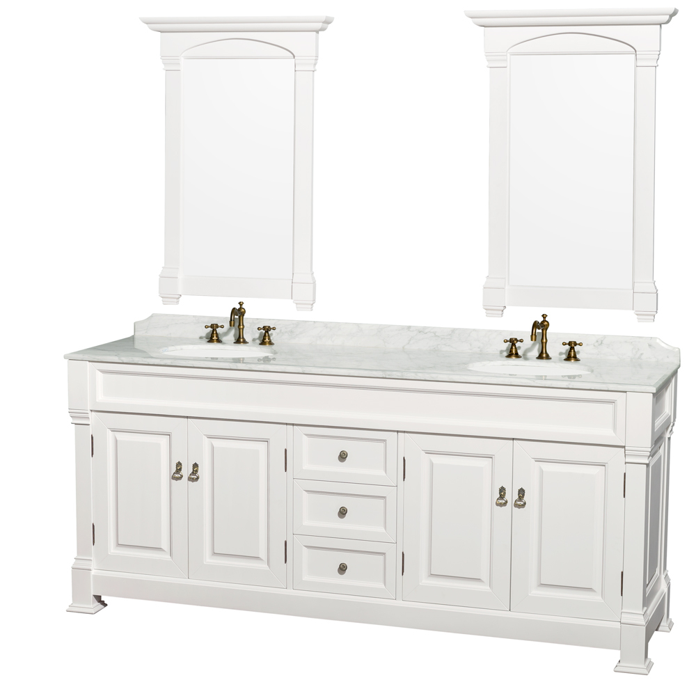 Andover 80 Inch Traditional Bathroom Double Vanity Set White Finish ... Part 9