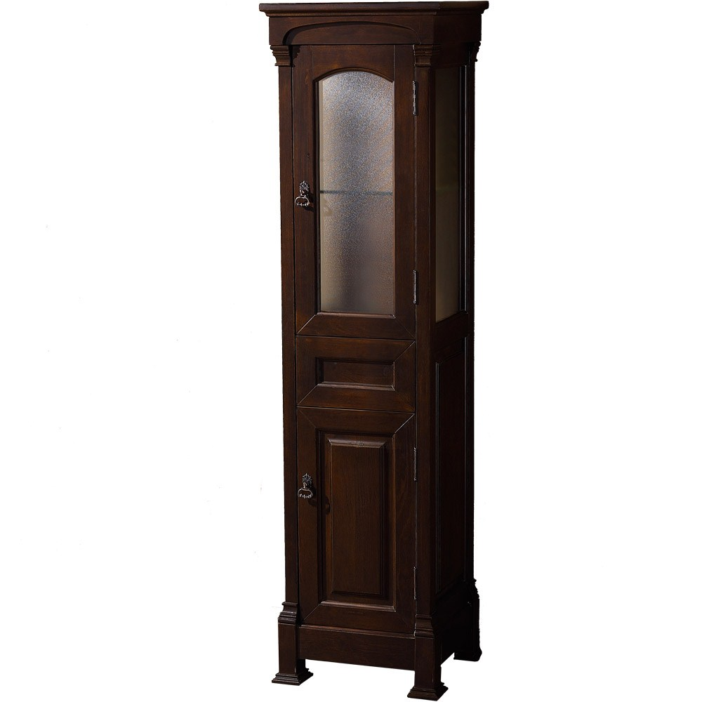 Andover traditional linen cabinet dark cherry finish for Bathroom cabinets traditional