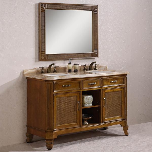 Antique 60 Inch Yellow Marble Top Light Brown Double Sink Bathroom Vanity  ...