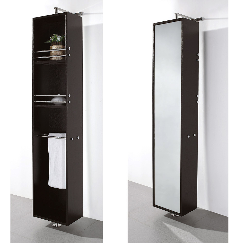 april rotating floor linen cabinet espresso finish with mirror mirrored fully on one side. Black Bedroom Furniture Sets. Home Design Ideas