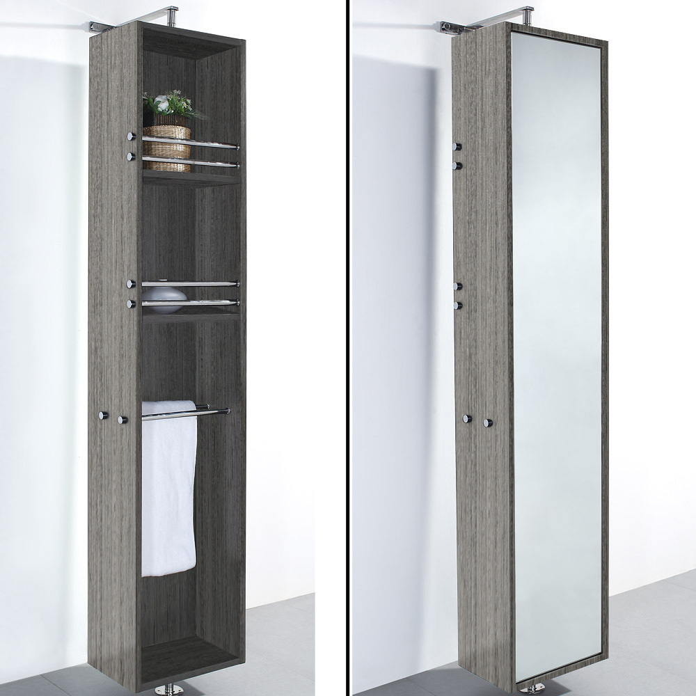 April Rotating Floor Linen Cabinet Gray Oak Finish with Mirror ...