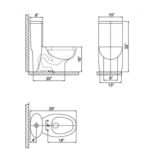 Ariel CO1008 Contemporary European Toilet Chart