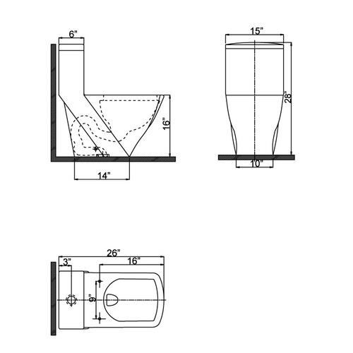 Ariel CO1018 Contemporary European Toilet Chart