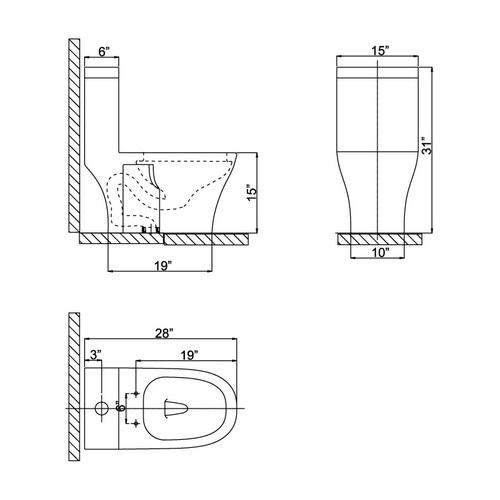 Ariel CO1034 Contemporary European Toilet Chart