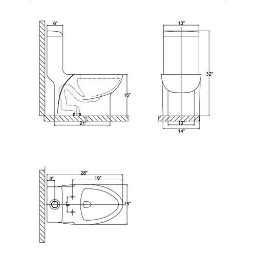 Ariel CO1038 Contemporary European Toilet Chart