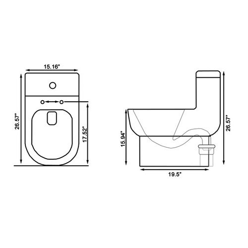 Ariel Platinum TB351M Contemporary Toilet Chart