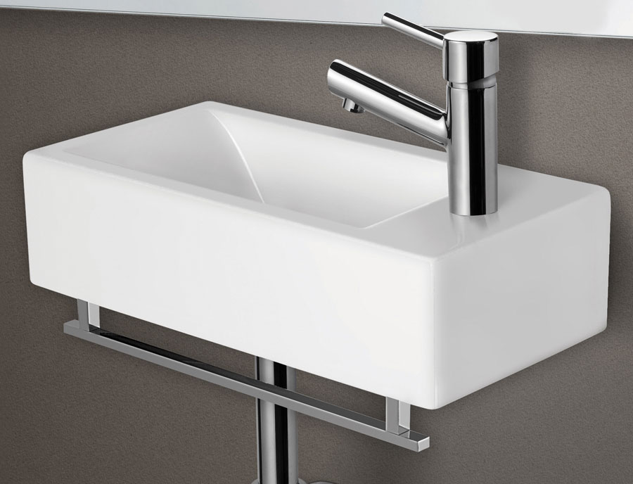 Bon ALFI Brand AB108 Small White Modern Rectangular Wall Mounted Ceramic Bathroom  Sink Basin