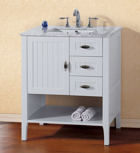 29 inch white finish bathroom vanity