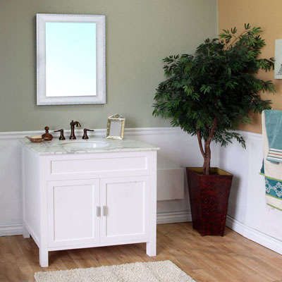the bella collection 36 inch white bathroom single vanity white marble top
