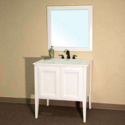 Bellaterra Home Bathroom Vanity White Phoenix Stone - 33 inch bathroom vanity