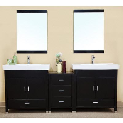 Bella 80 Inch Black Finish Double Sink, 62 Inch Double Sink Bathroom Vanity Set