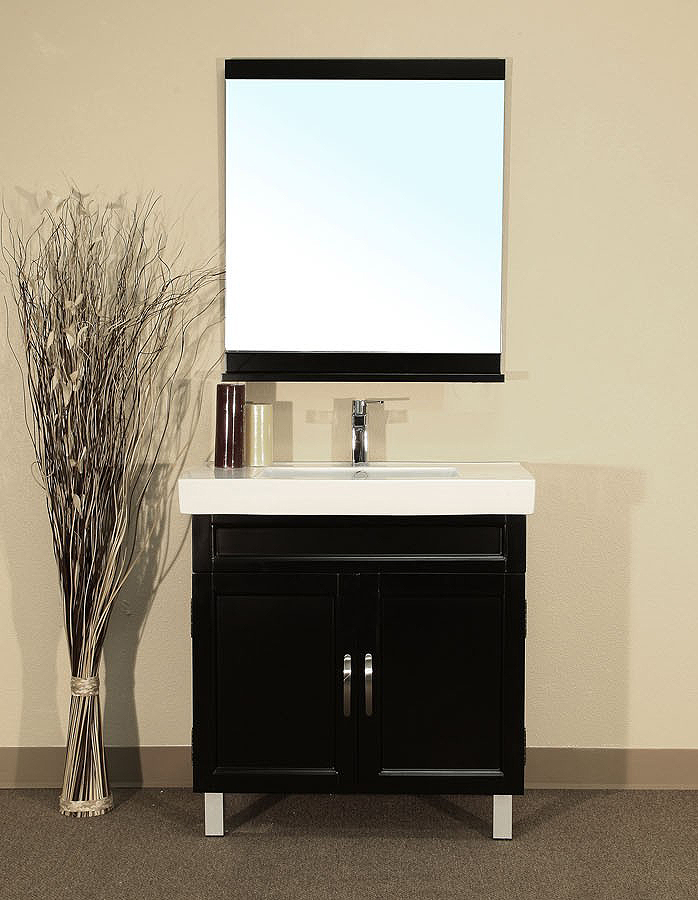 Bellaterra Home 203131 Bathroom Vanity Black Wood Cabinet