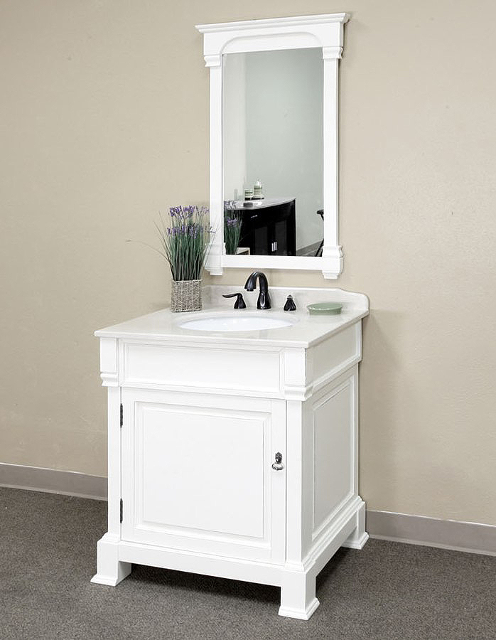 Bellaterra home 205030 a white bathroom vanity antique white finish White bathroom vanity cabinets