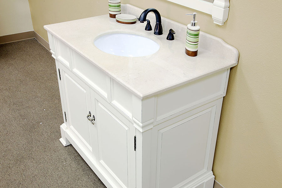 White Bathrooms With Marble bellaterra home 205042-a/white bathroom vanity antique