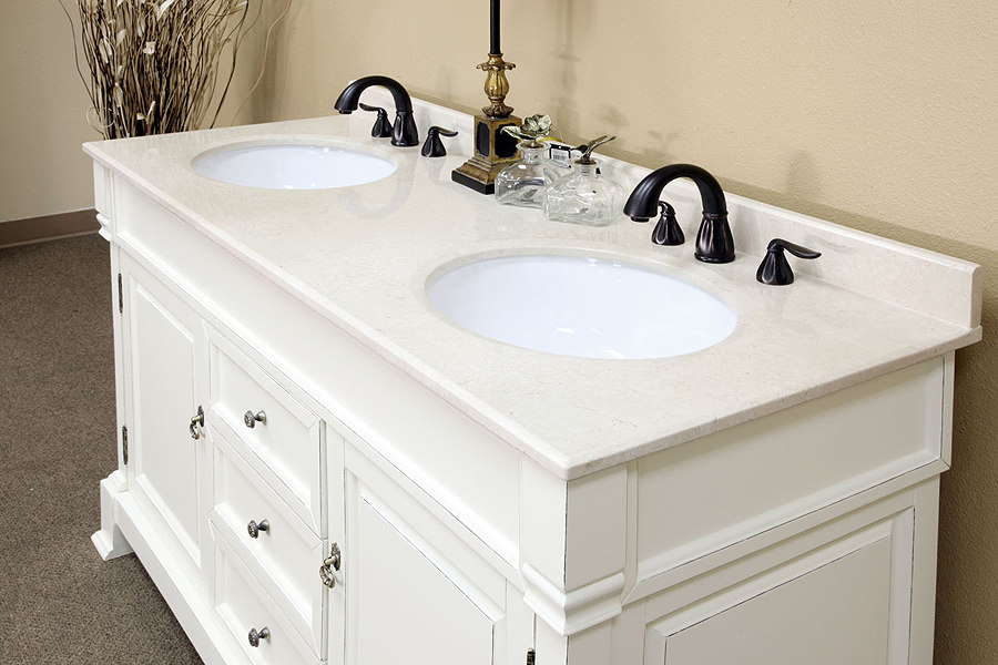 Bellaterra home 205060 d a white bathroom vanity antique for Large white bathroom cabinet