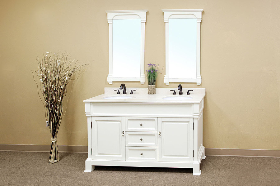 bellaterra home 205060-d-a/white bathroom vanity: antique double