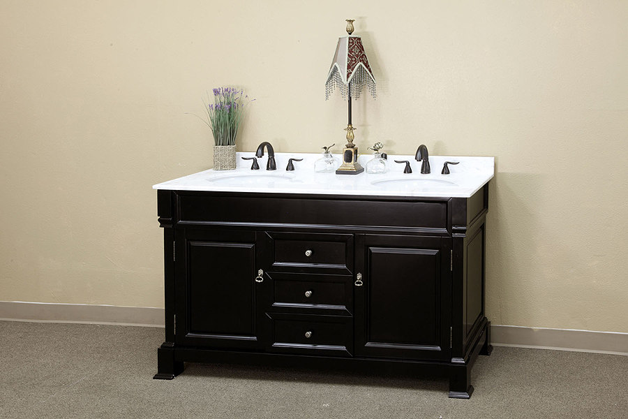 Bellaterra Home Bathroom Vanity Antique Espresso Finish White Marble Top