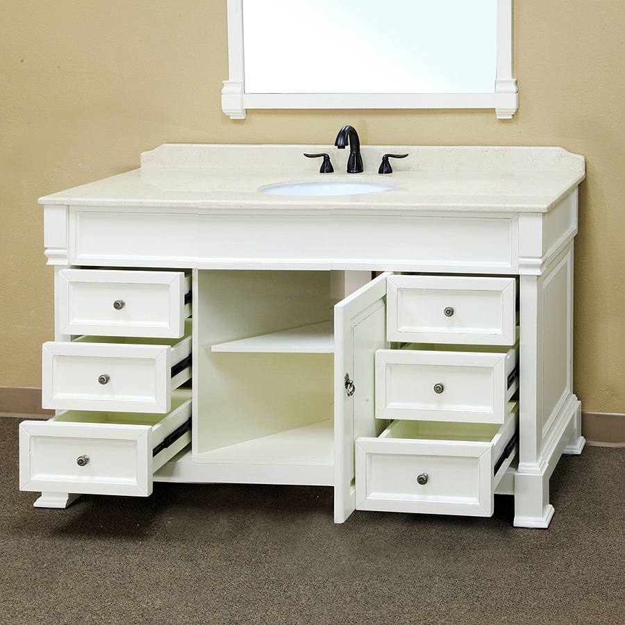 Bellaterra home 205060 s a white bathroom vanity antique for Single vanity bathroom ideas