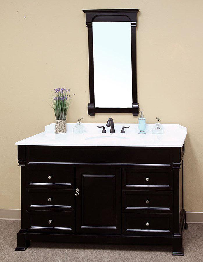 Bella 60 Inch Bathroom Vanity Espresso Finish Marble Top