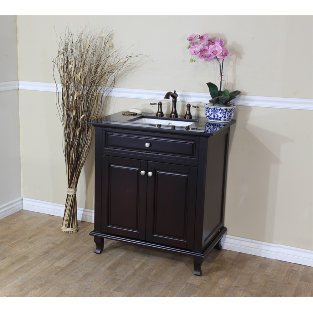 The Bella Collection 32 Single Sink Vanity Dark Mahogany
