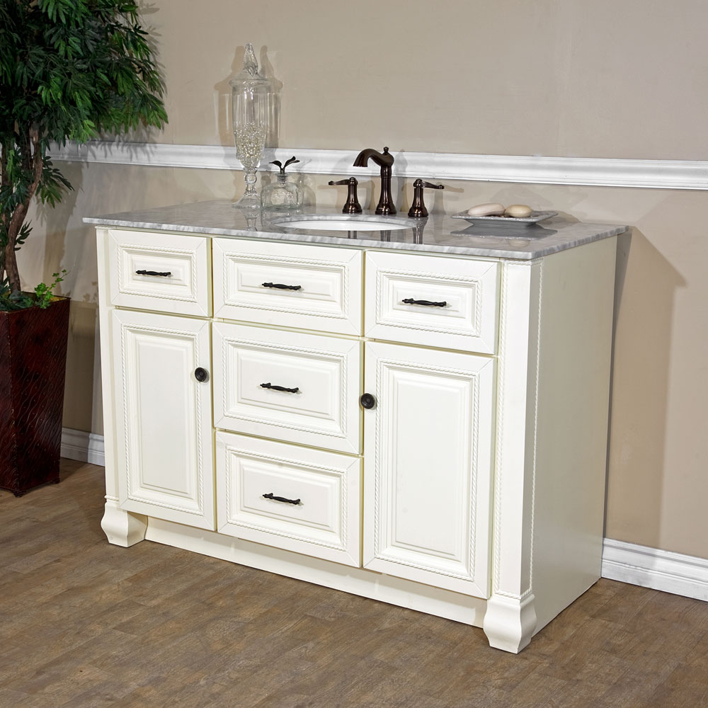 Bellaterra Home 605022 Cream White Finish Bathroom Vanity Genuine Italy Carrara Polished Marble
