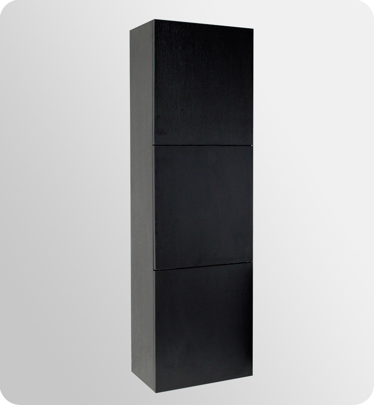 Black bathroom linen cabinet 3 large storage areas for Bathroom linen cabinets