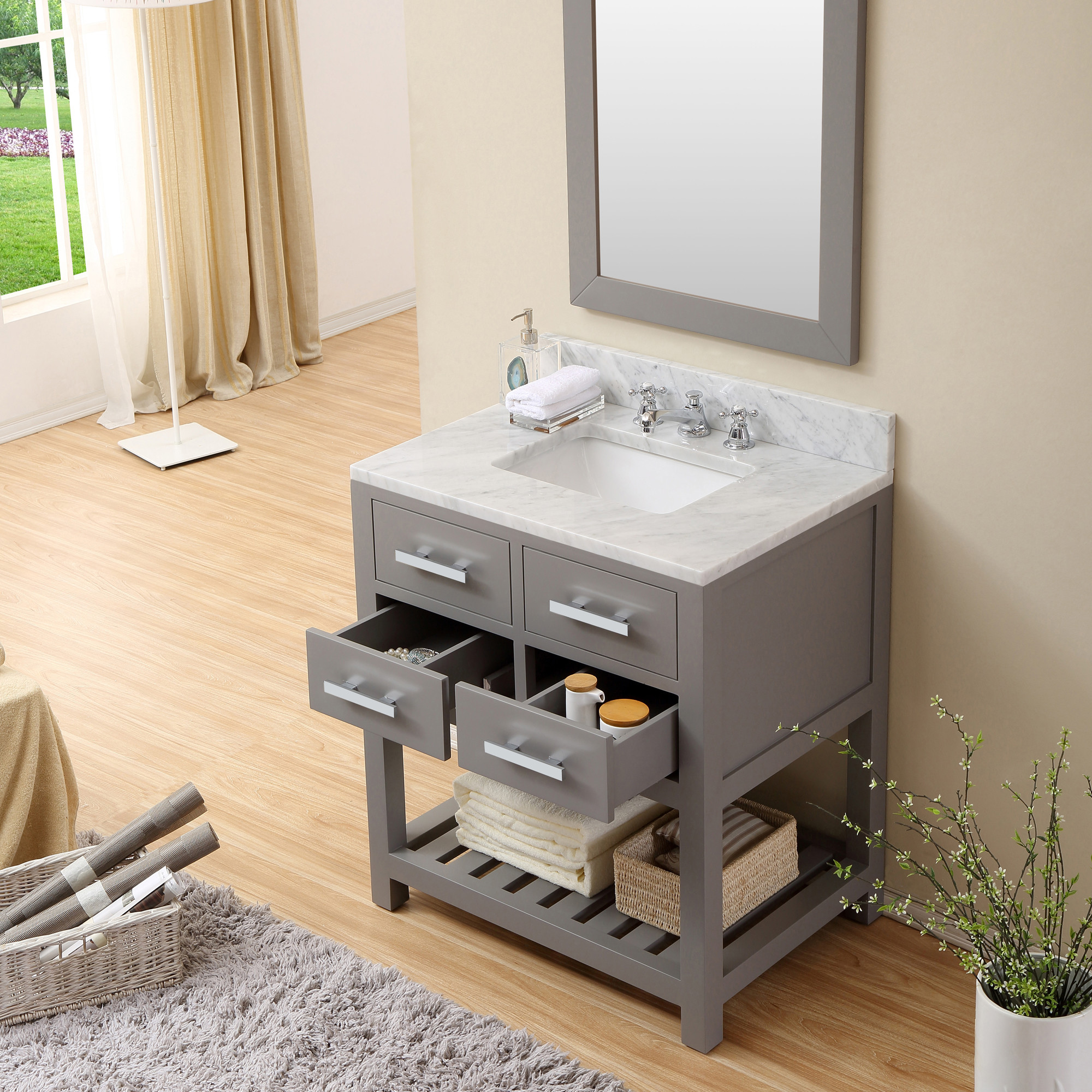 Nice 30 Gray Bathroom Vanity Part - 6: ... Cadale 30 Inch Gray Finish Traditional Single Sink Bath Vanity