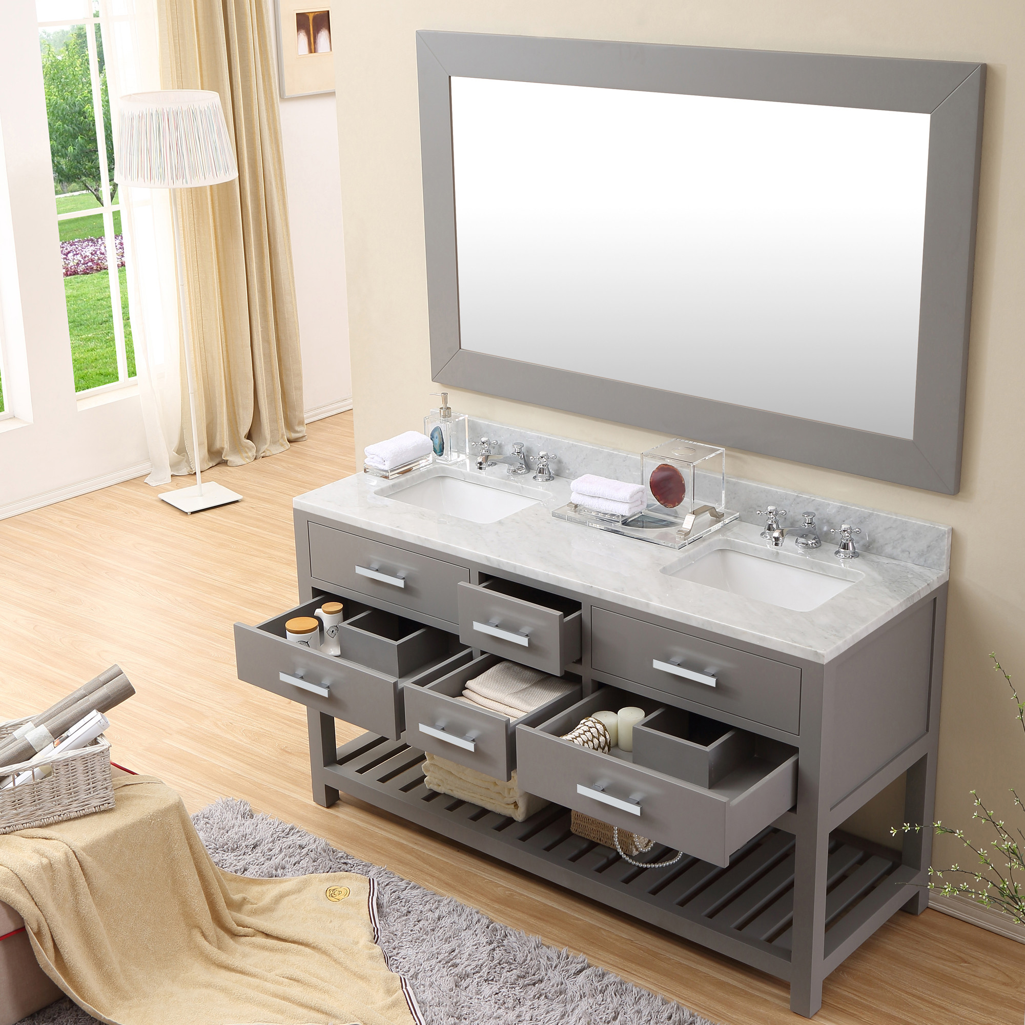 Cadale Inch Gray Finish Double Sink Bathroom Vanity Two Mirrors