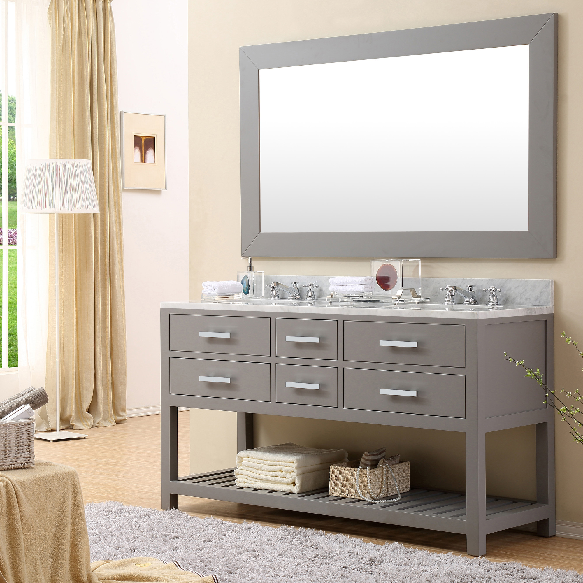 60 Inch Bathroom Vanity Mirror 60 inch gray finish double sink bathroom vanity two mirrors