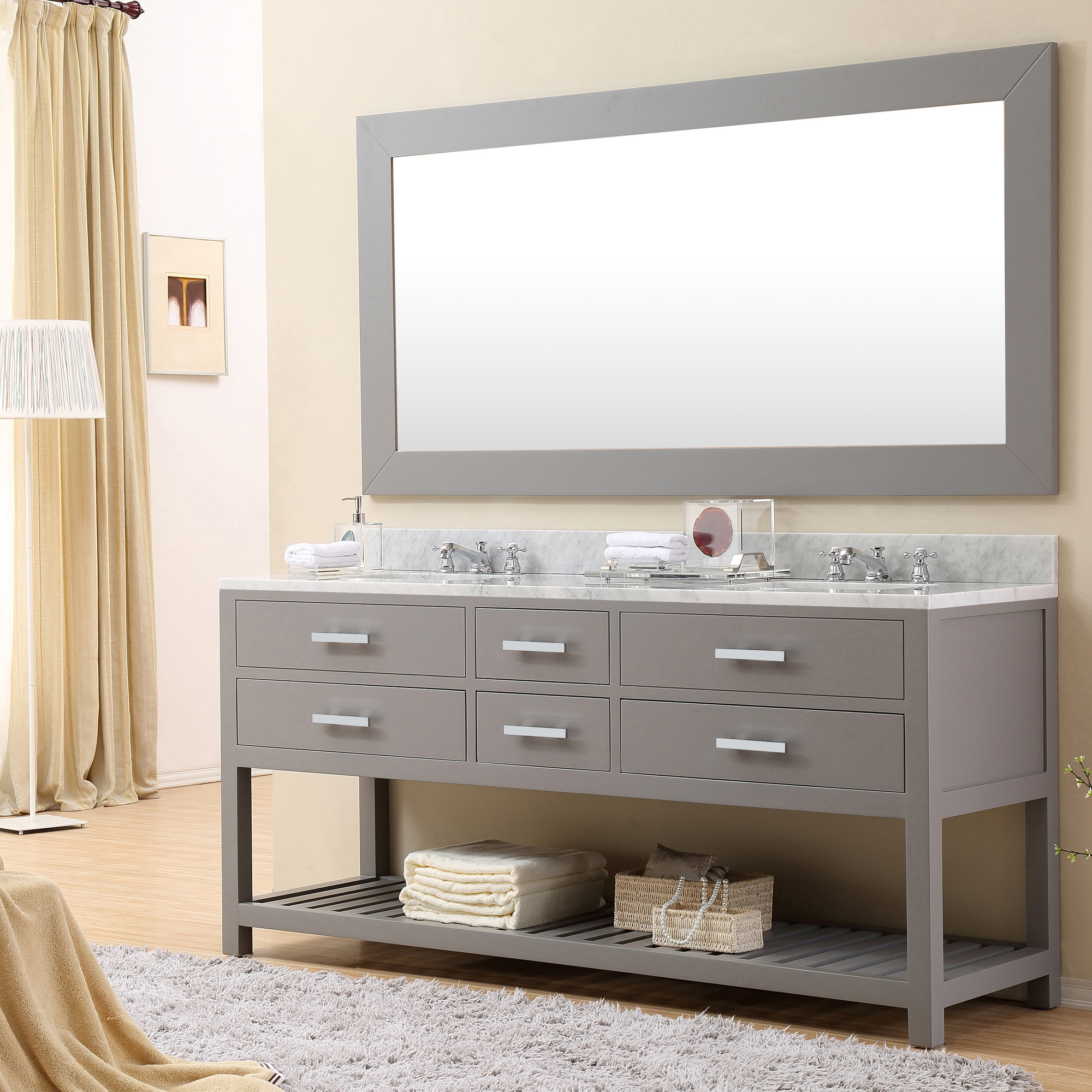 72 Inch Gray Finish Double Sink Bathroom Vanity One Mirror
