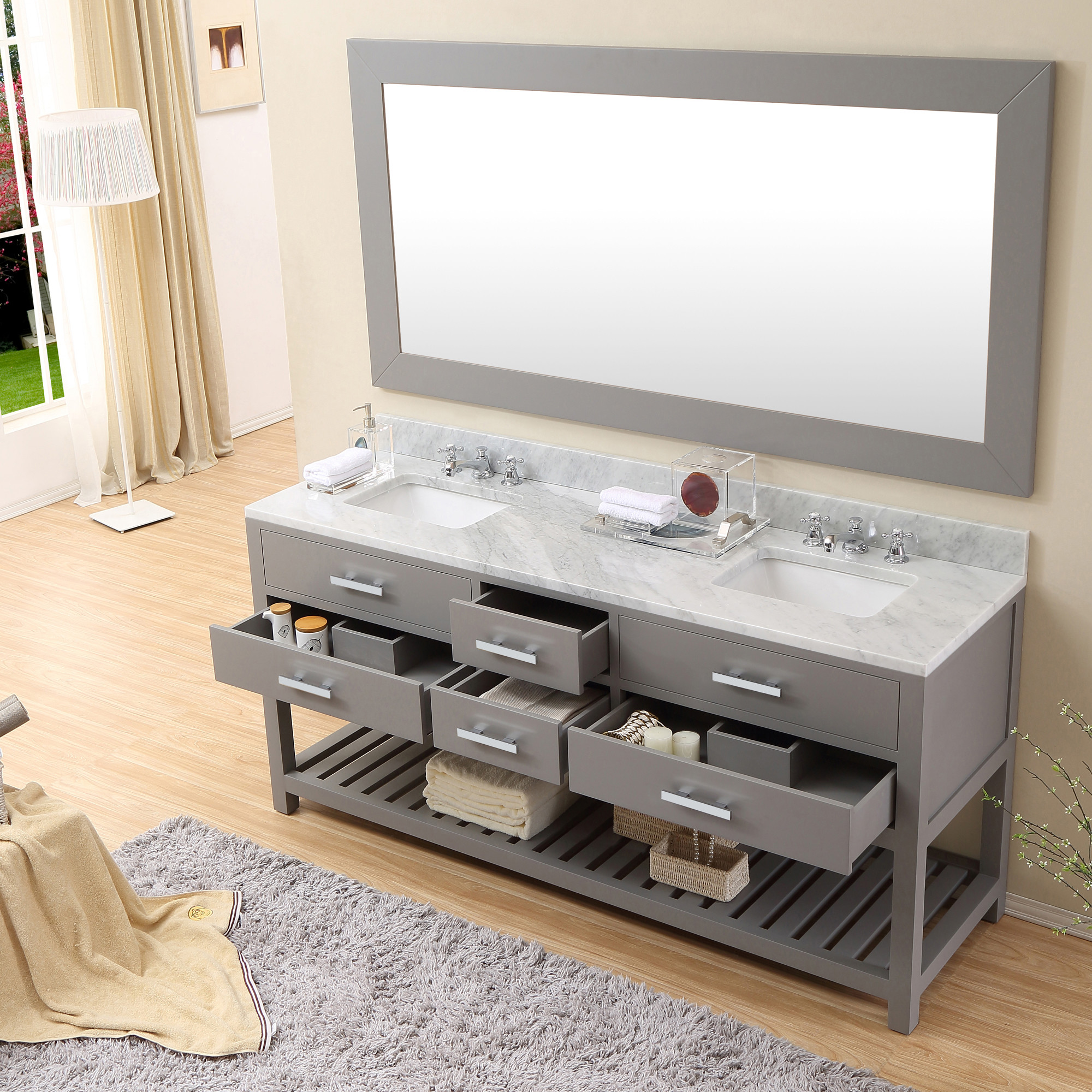 ... Mirror Cadale 72 Inch Gray Finish Double Sink Bathroom Vanity ...