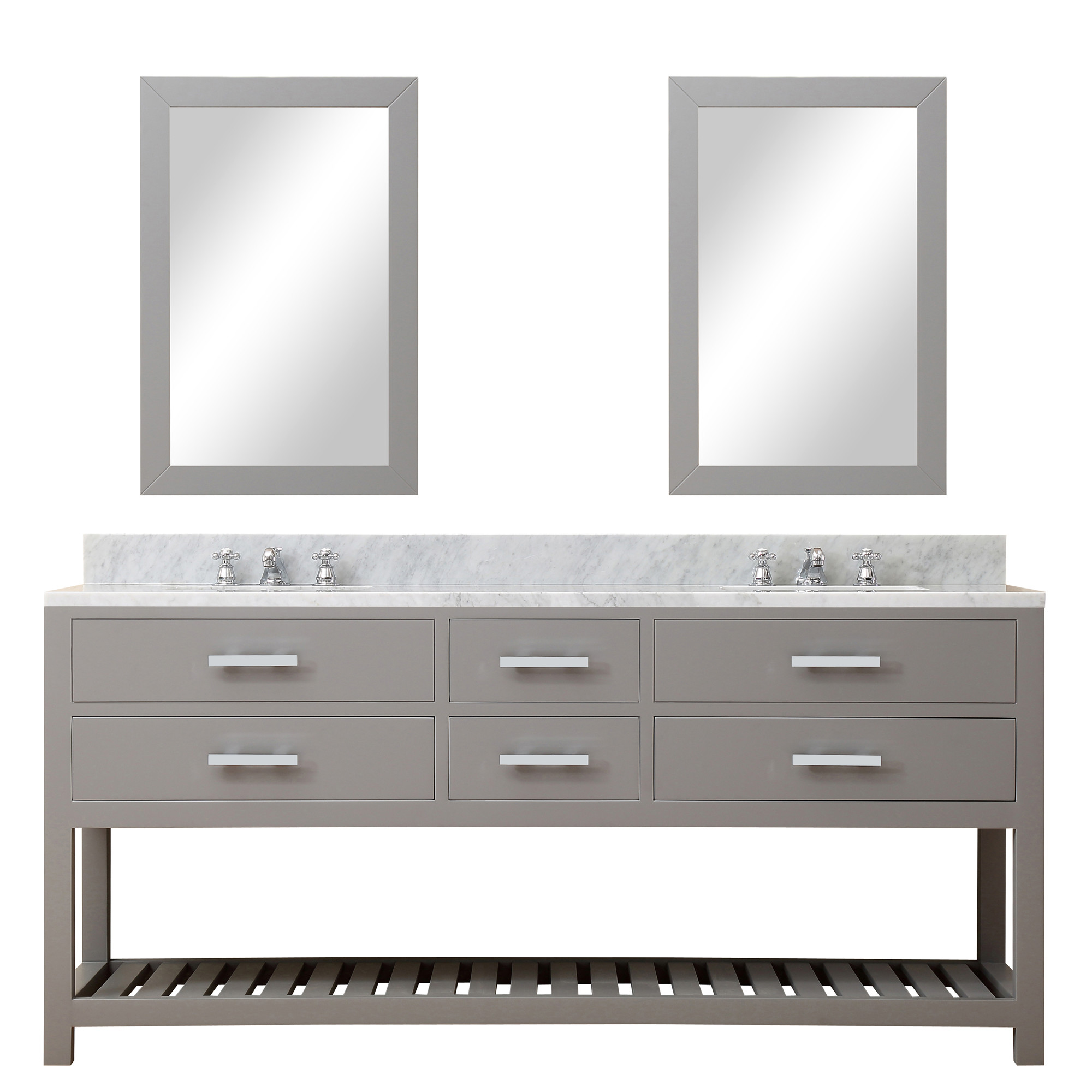 Cadale 72 inch gray finish double sink bathroom vanity one for Bathroom vanities and mirrors