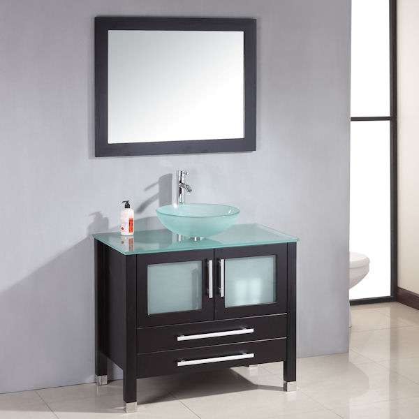 Cambridge 36 Inch Solid Wood Glass Vessel Sink Set