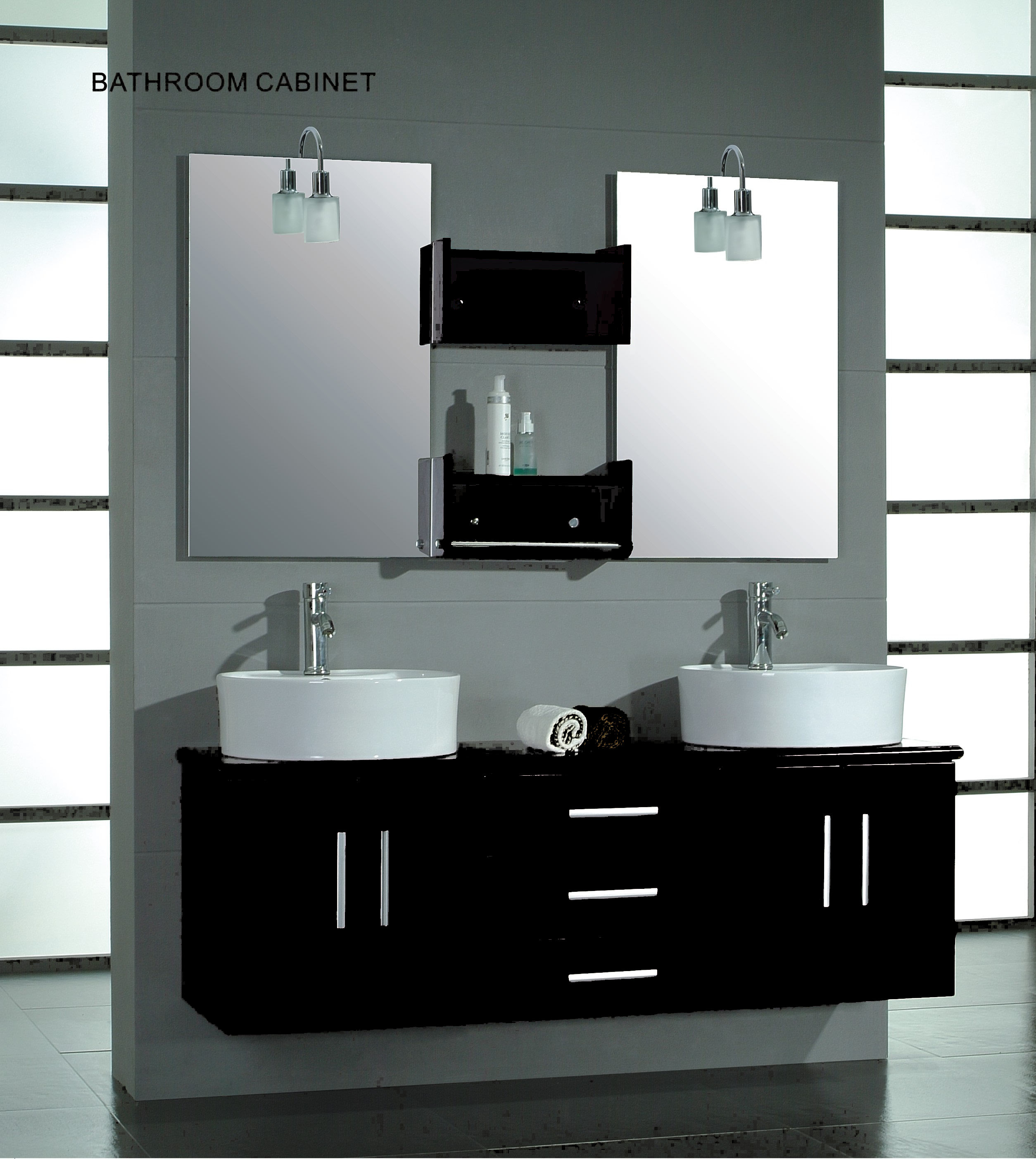 Cambridge 59 inch double wall mounted vanity set solid for Bathroom wall vanity cabinets