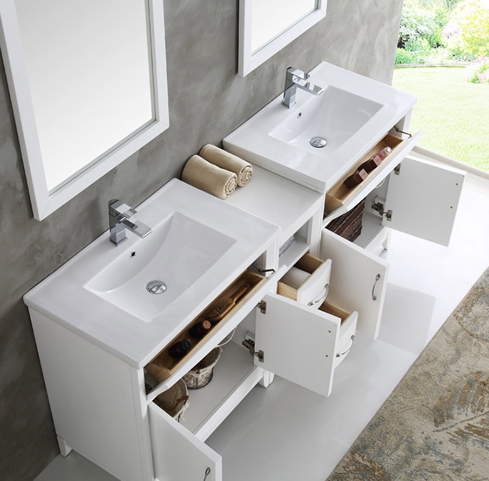 Fresca Cambridge Collection 72 White Double Sink Traditional Bathroom Vanity In Faucet Option