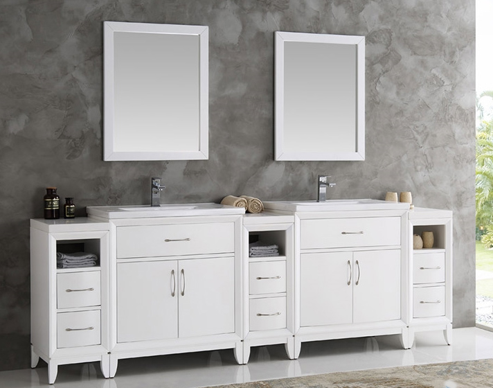 96 inch White Finish Double Sink Traditional Bathroom Vanity with ...