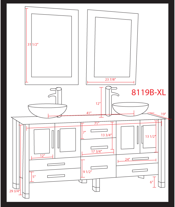 Cambridge 71 inch white glass double sink bathroom vanity set for Bathroom cabinets sizes