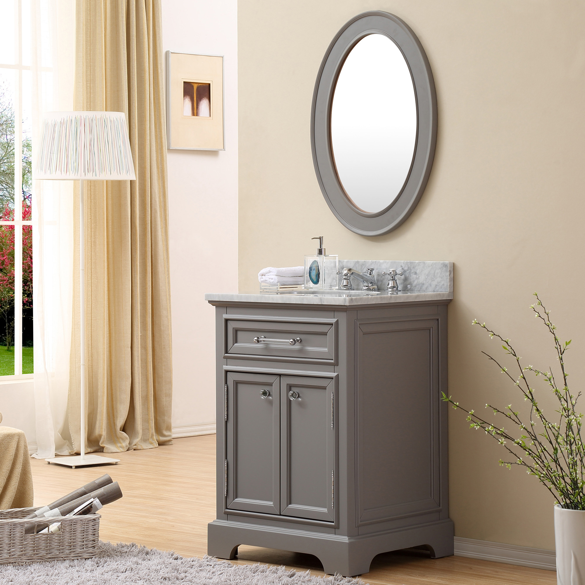 Carenton Inch Traditional Bathroom Vanity Gray Finish - 24 inch bathroom vanity gray