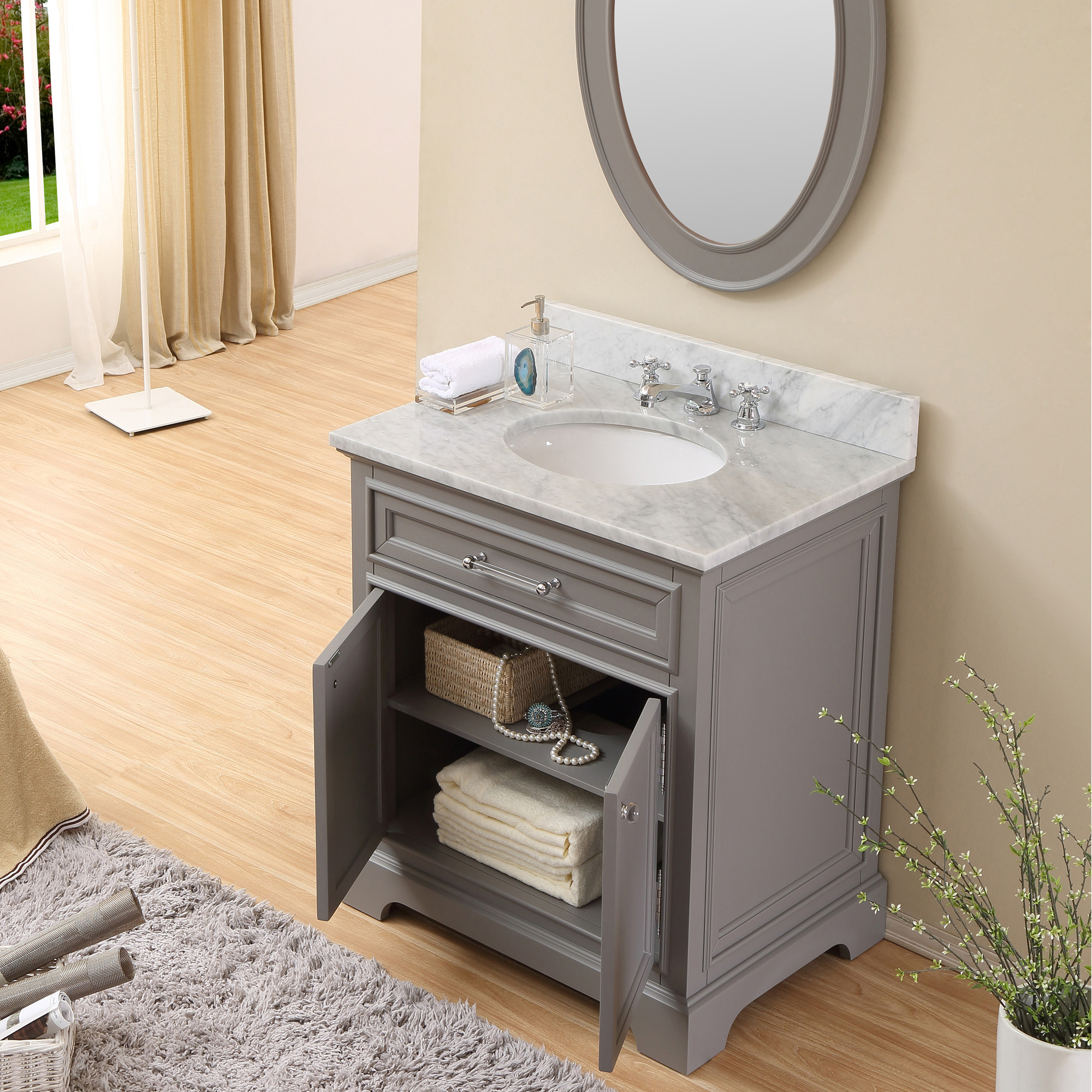 Carenton 30 inch traditional bathroom vanity gray finish for Bathroom cabinets 30 inch