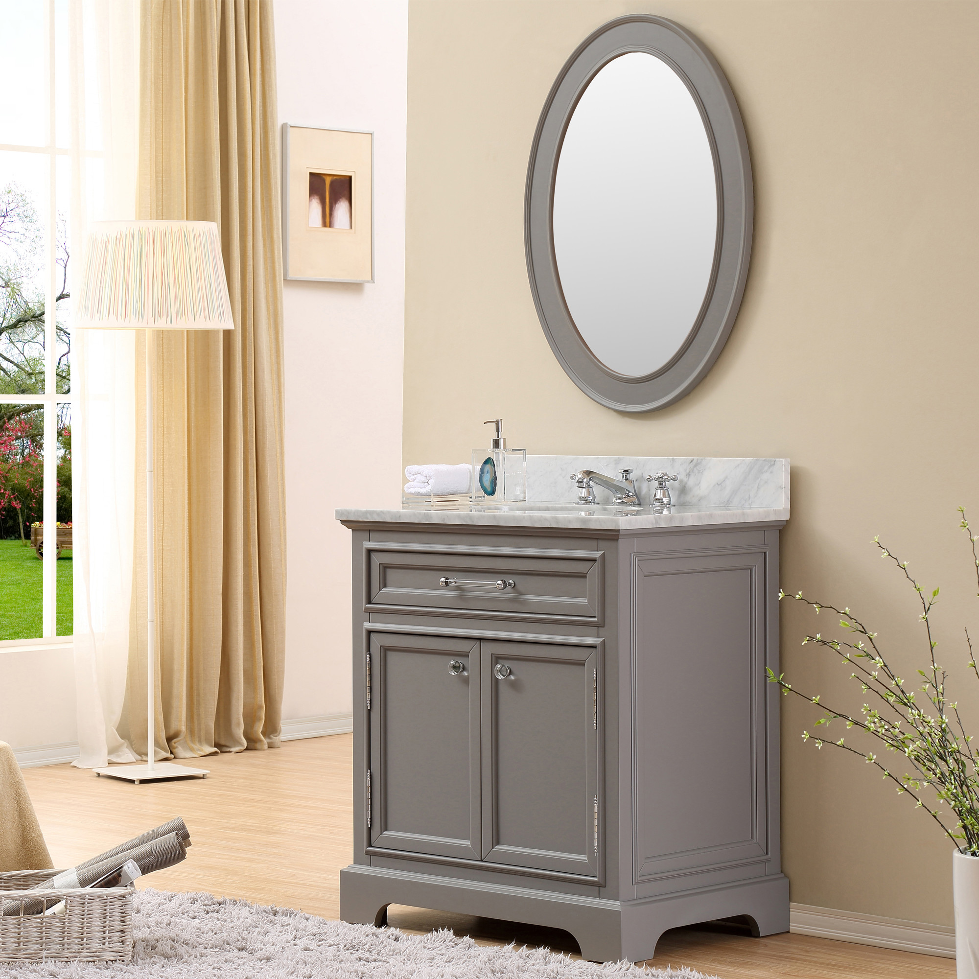 Inch Traditional Bathroom Vanity Gray Finish - Mirror size for 30 inch vanity