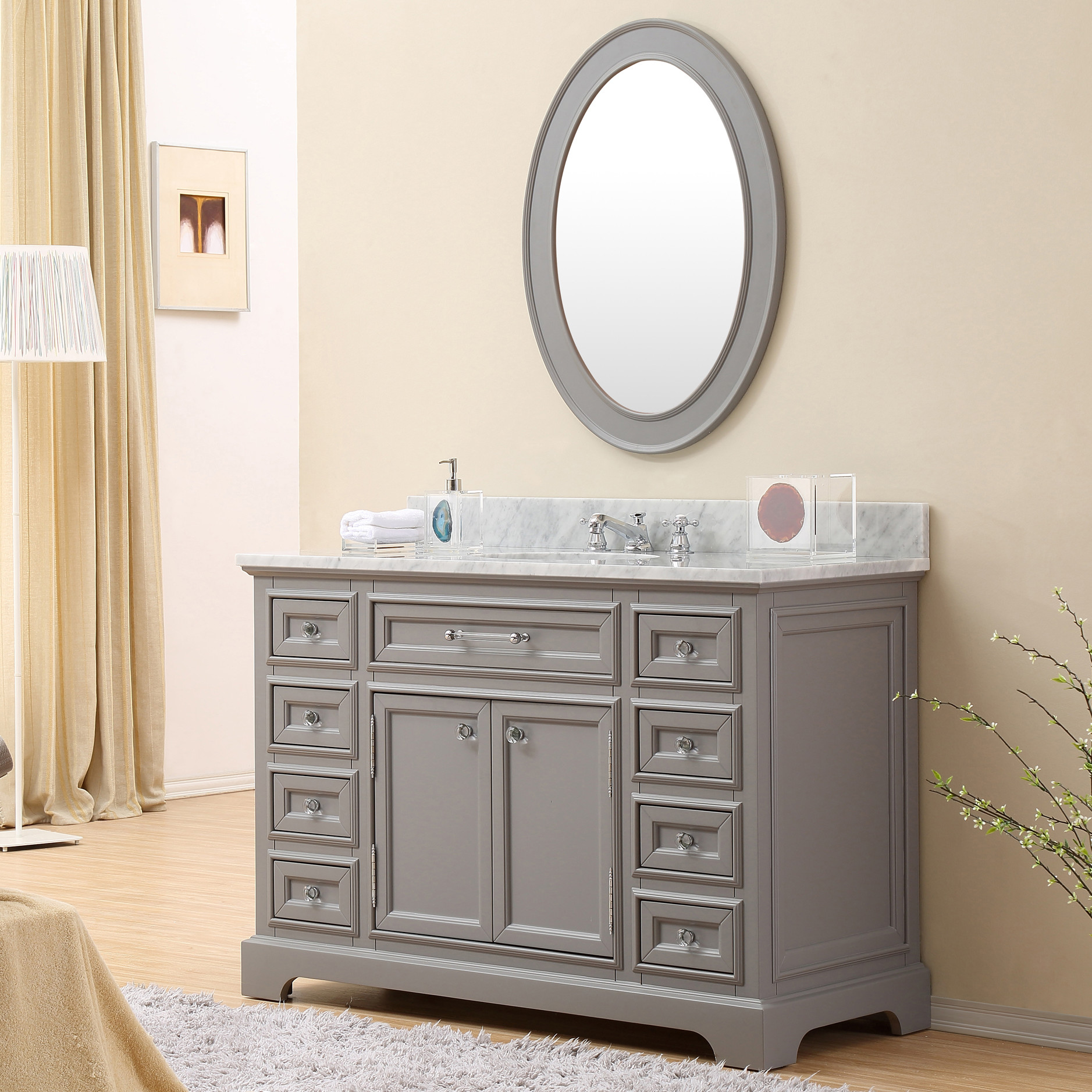 Carenton 48 Inch Traditional Bathroom Vanity Gray Finish